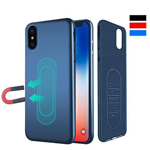 iPhone X 10 Hülle, [für Magnetische Halterung] Ultra Dünn Soft TPU Handyhülle mit Eingebauter Metal Plate für Magnet KFZ Autohalterung,für iPhone X 10-Blau - Magnetisches Iphone-halterung