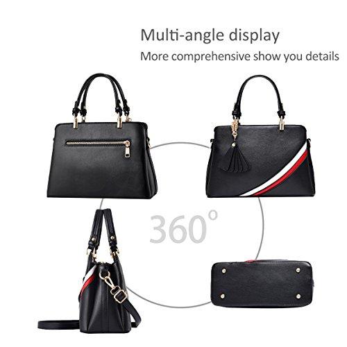 NICOLE&DORIS Mode Damen Handtaschen Crossbody Tasche Schultertaschen Umhängetasche Reisetasche PU Grau Schwarz