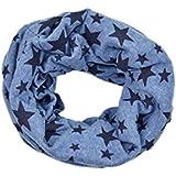 SODIAL(R)Unisexo Bebes Chal de invierno envuelto tejido de estrella de cinco puntas de lazo envuelto Cuello de cintillo mas calido Azul