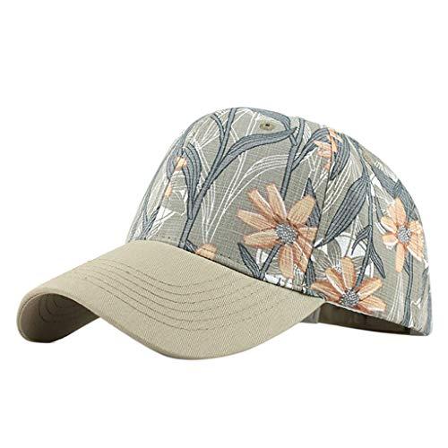 Qiamay Unisex Sonnenhut mit Blumen gedruckte Outdoor Cap einstellbar waschbare Canvas Kappe (Khaki,Cotton) Canvas-cap Khaki