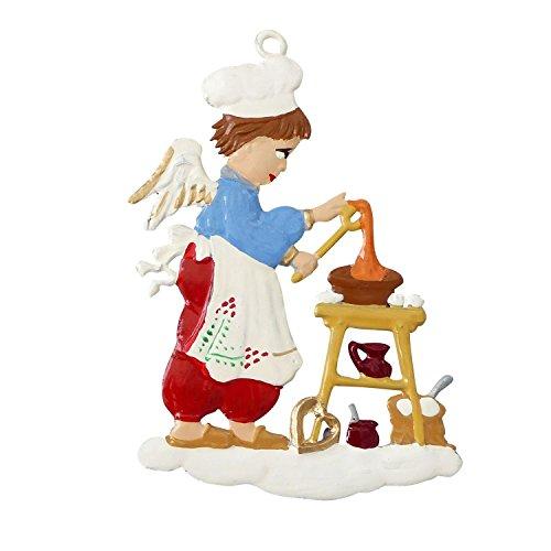 Zinngeschenke Engel in der Bäckerei von Hand bemalt aus Zinn (HxB) 7,0 x 5,0 cm, Christbaumschmuck, weihnachtlicher Zierschmuck