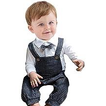 ropa bebé,Switchali 2 Piezas Conjuntos Bebé Chicos Clásico Enrejado Traje de cinturón de caballeros MonoRomper + sombrero Niños guapo corbata de moño Ropa