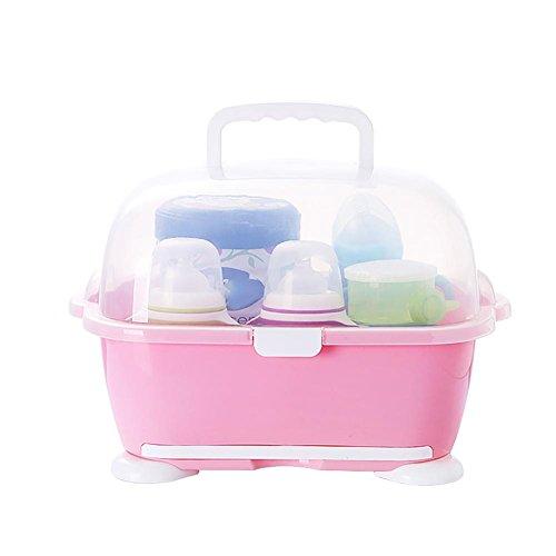 HTTMYY Baby Trockene Rack Abtropfen Lassen Milch-Flasche Geschirr-Aufbewahrungsbox Blau, Rosa, GrüN , pink