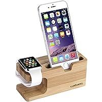 Base de Carga Luxebell 2 en 1 Apple Watch Stand Soporte de Madera de Bambú para 38mm 42mm Apple Watch y iPhone 6s Plus / 6s / 6 Plus / 6 / 5s / 5c / 5 / 4s /4 y más Smartphone