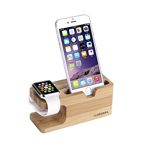 Luxebell® Apple-Uhr-Stütze,Ständer 2 in 1 Bamboo Ladestation Ladegerät Dock Station Cradle Halterung für Apple iPhone 6s Plus / 6s / 6 Plus / 6 / 5s / 5c / 5 / 4S / 4 und mehr Phones und Apple Watch andere Uhren Uhr (Iphone-apple Watch)