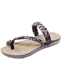 Gemijacka Frauen Keilabsatz Sandalen Sommer Schuhe Boho Geflochtene Casual Strand