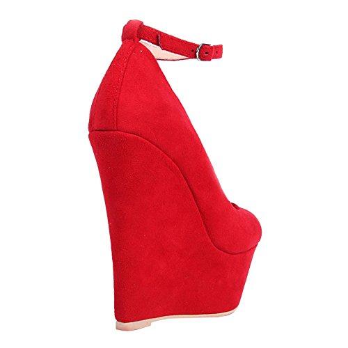 EKS Damen Platform Keilabsatz Ankle Strap High Heels Pumps Rot-Wildleder