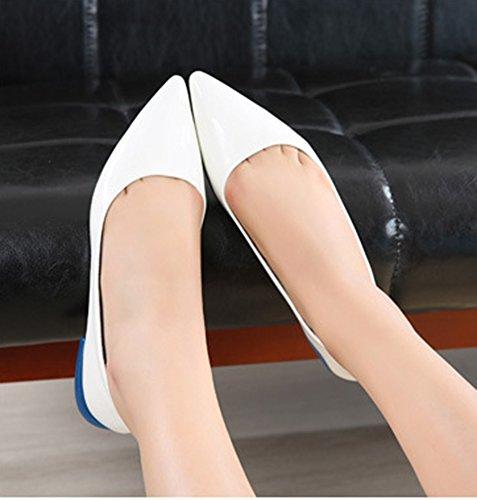 Aisun Damen Komfort Spitze Zehe Lackleder Loafer Halbschuhe Slipper Weiß