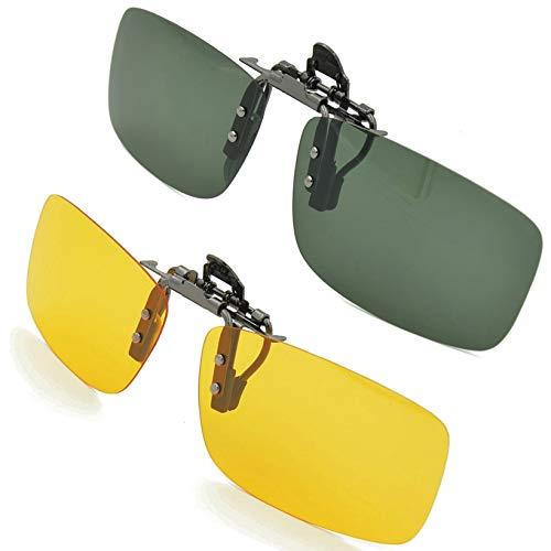 Sonnenbrille Aufsatz, Splaks 2-Stück Clip on Polarisiert Clip polarisierte Sonnenbrille Flip up Sonnenbrille Clip Gegen Licht für Frauen und Männer(Dunkelgrün+Gelb)