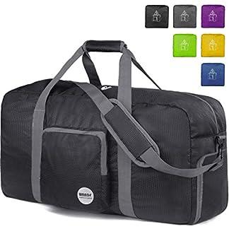 WANDF-Faltbare-Reisetasche-Leichter-Sporttasche-mit-Schulterriemen-und-Schuhfach-fr-Reisen-Sport-Gym-Urlaub-10-Farbewahl-Schwarz-80L