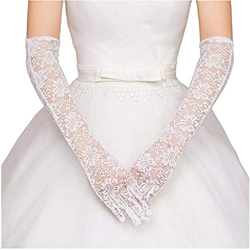 GownLink Christian Wedding Bridal Gloves With Finger Long Net White