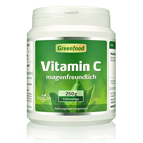 Vitamin C magenfreundlich, 250g Pulver, gepuffert mit Calcium, vegan - für Immunsystem, schöne Haut, gesunde Gelenke und stabile Knochen. OHNE Gentechnik. Ohne künstliche Zusätze. Ohne Säure. -