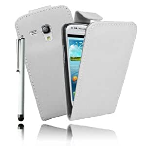 Etui Housse Luxe Blanc pour Samsung Galaxy S3 III Mini + STYLET et 3 FILMS OFFERTS !!