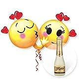 Helium Riesenballon Emojis in Love und Freixenet Semi Seco