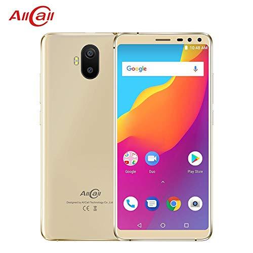 Preisvergleich Produktbild AllCall S1 3G Dual SIM kostenlos Smartphones mit 5, 5 Zoll HD IPS Display - Android 8.1 Smartphone - MT6580A Quad Core 1, 3 GHz - hinten Quad Kamera - 5000mAh große Kapazität - 2 GB ROM - Gold