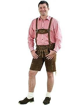 Trachtenset 5-tlg. mittelbraun bestehend aus Kurzer Lederhose mit Hosenträger, Haferlschuhe, Hemd (rot oder blau...