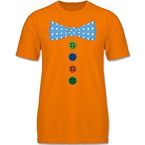 Anlässe Kind - Clown Kostüm Blaue Fliege - 164 (14-15 Jahre) - Orange - F140K - Kinder T-Shirt für