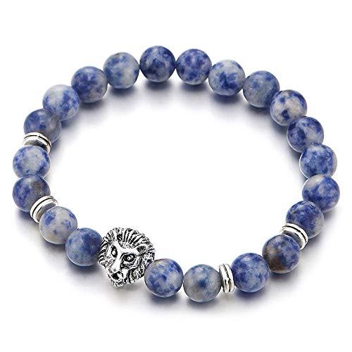 iMETACLII 8MM Azul Mármol Perla Cuentas Pulsera de Hombre Mujer, Cabeza de León y Metal Encantado Colgantes