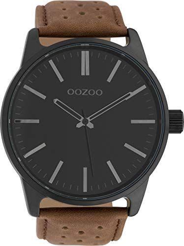 Oozoo Herrenuhr mit Lederband 48 MM Black/Schwarz/Braun C10051