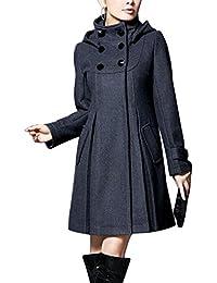 Mujer Chaqueta Larga de Elegante Abrigo Trench Doble Botones Jacket Coat Outwear con Capucha