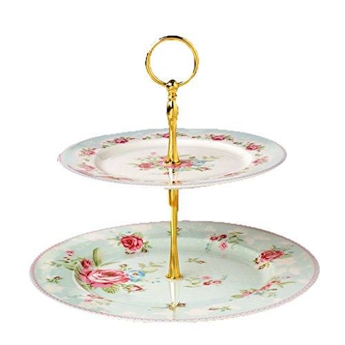 2 Couches De Fruit Plate Céramique Ronde Multi-couches Fruit Plate Cake Plate Dessert Plate