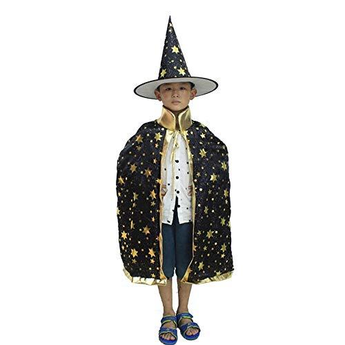 Kostüm Mädchen Zauberer - Halloween Kostüm Kinder Halloween Magie Kostüm Hexe Zauberer Mantel Spitze Hut Jungen Mädchen Kostüm Cosplay Geeignet für Ballliebhaber