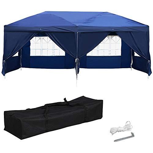 Yaheetech 6x3 m gazebo tenda padiglione pieghevole richiudibile da esterno giardino per eventi impermeabili parasole altezzza regolabile blu