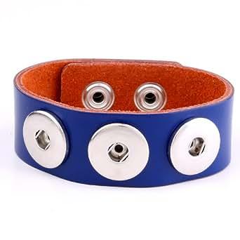 Morella Unisex Click-Button Armband aus Leder für Click-Button blau 17,5 cm - 19,5 cm