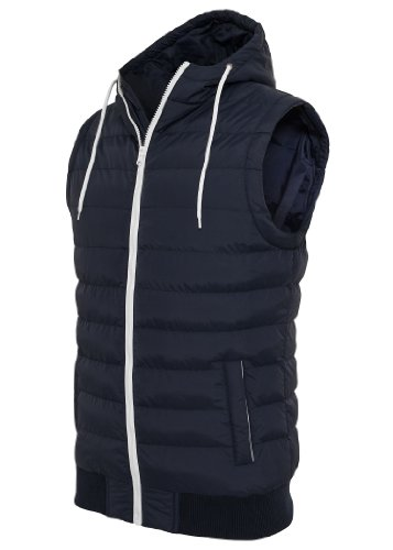 Urban Classics Small Bubble Hooded Vest, navy blue/white Navy Blue/White