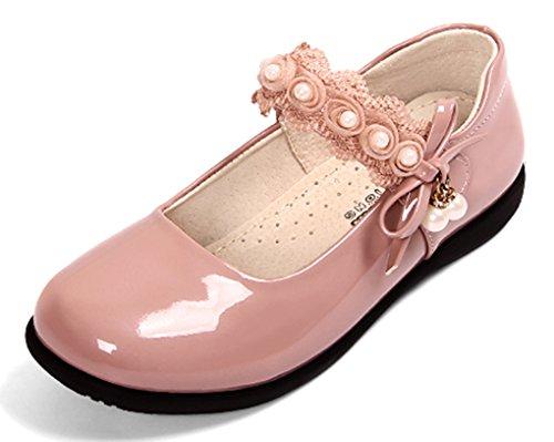 VECJUNIA Mädchen Hübsch Flach Low-Top Blumen Schleife Perle mit Klettverschluss Aufführung Prinzessin SchuheMary Jane Pink 31 EU