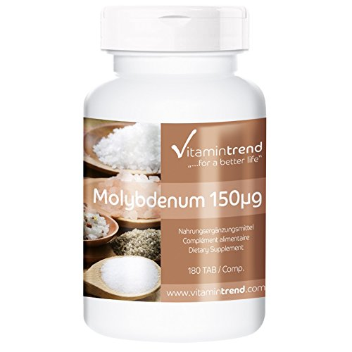Molybdän 150 mcg - Molybdenum - aus Natriummolybdat - Reinsubstanz - 180 Tabletten - Großpackung für 1/2 Jahr