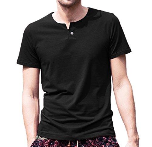 AIYINO Men's Cotton Short Sleeve T Shirts Casual V Neck Slim Fit Henley Shirt Summer Tops