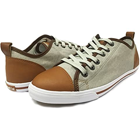 Men's Canvas and Leather Lace up Low-top Sneakers, (Denim Chukka)