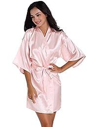 7330036d55777b Anwedding Damen Kimono Satin Morgenmantel Bademantel Kurz Schlafanzug  Nachtwäsche