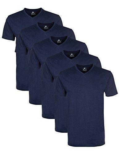Bereich Herren T-shirt (Lower East Herren T-Shirt mit V-Ausschnitt, 5er Pack, Einfarbig, Gr. X-Large, Blau (Dunkelblau))