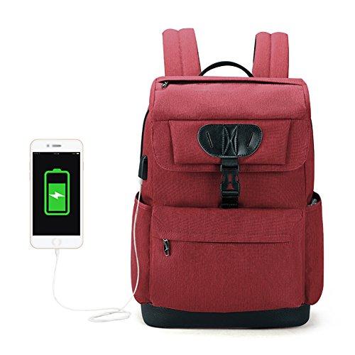 Preisvergleich Produktbild Laptop-Rucksack Anti-Diebstahl-Wasser-Beständige Mode-Schule-Computer-Dünne Rucksack-Tasche mit USB-Ladeanschluss Für Männer Frauen Passen 12-15, 6 Zoll Laptop, Red