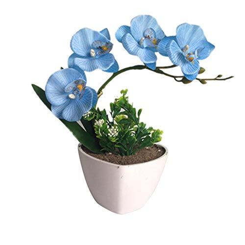 Composizioni di fiori di orchidea artificiale con vaso di porcellana, pianta di fiori artificiali set di bonsai in vaso di phalaenopsis