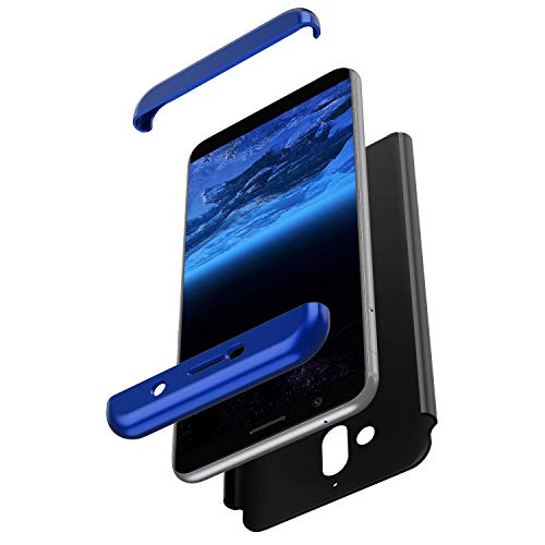 JAWSEU kompatibel mit Nokia 7 Plus Hülle 360 Grad Handyhülle Hardcase Schutzhülle PC Hart Hülle Komplettschutz Full Body Case Cover Stoßfest Backcover Bumper für Nokia 7 Plus,Blau Schwarz Alle Nokia-flip-telefone