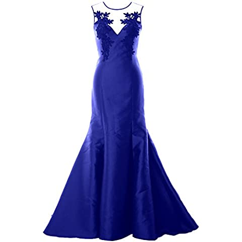MACloth Women Mermaid Evening Gown Straps Illusion Lace Satin Formal Party Dress
