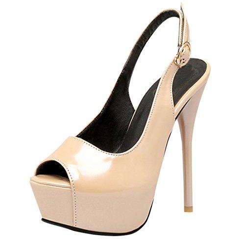 YE Damen Peep Toe High Heels Plateau Sandaletten Slingback Stiletto ...
