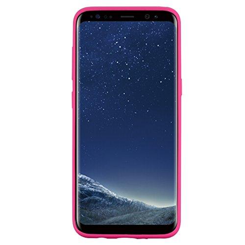 Galaxy S8 Hülle, Ultra Dünn TPU Weich Silikon Handy Hülle für Samsung Galaxy S8 (5.8 pouces), Niedlichen Einhörner Einfarbig Muster Design Handycover Schale Schutzhülle Ultradünnen Etui Anti-Stoß Krat Rose rot