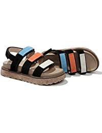LIXIONG Sommer Weibliche Sandalen Spell Farbe Klettverschluss Plateauschuhe Retro flachen Boden mit hohen 4cm...