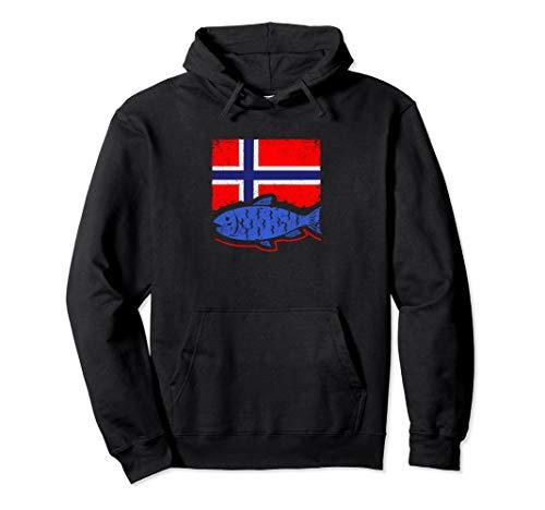 Angeln Norwegen Flagge mit Fisch Pullover Hoodie