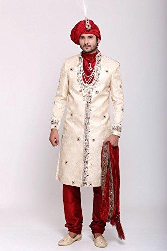 Azio Design Mens Brocade Sherwani -Beige -Xl