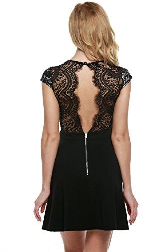 Zeagoo Damen Sexy V-Ausschnitt Spitzenkleid Floral Rückenfrei Cocktailkleid Partykleid Skaterkleid (EU 36/ S, Schwarz-1) (Rückenfreies Spitzenkleid)