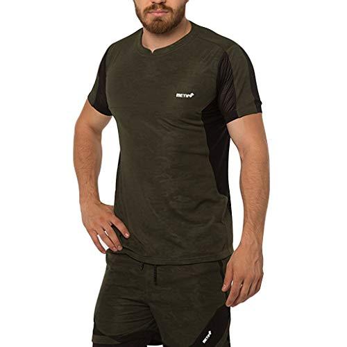 Line Kurzarm Crewneck Tee (TWISFER Herren Sport T Shirt Fitness Funktion Training Running Tennis Sportshirt Patchwork Männer Kurzarm Trainingsshirt Laufshirt Atmungsaktiv Top Bluse)