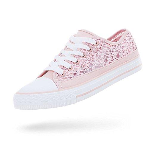 Marimo24 Damen Trend Schnür Sneaker Low Top Schuhe mit Spitze Pink 38