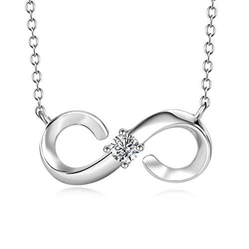 Damen Halskette aus 925 Sterling Silber mit Stein - Unendlichkeitszeichen - silber Kette mit Steinchen im Anhänger, Geschenkidee zum Valentinstag, Hochzeitstag, Jahrestag