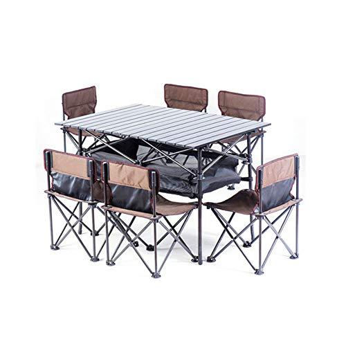 AFFC Ultraleichter, Faltbarer Picknick-Tisch für Outdoor-Camps, Faltbare tragbare Reise-Tische und Stühle. 6 Sitze,A -