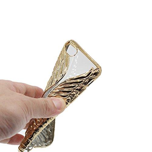 iPhone 6s Custodia, Fashion Silicone trasparente morbido Cover Shell per iPhone 6s Copertura / Cute 3D Metallo Oca Nero / iPhone 6 / 6S Case 4.7 Anti shock Durable doro